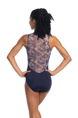Zip Front Leotard with Shibori Print
