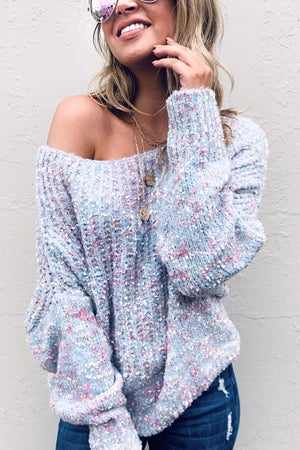Off the shoulder popcorn sweater