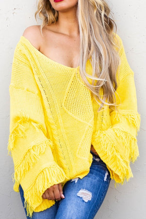 Yellow loose shoulder fridge sweater