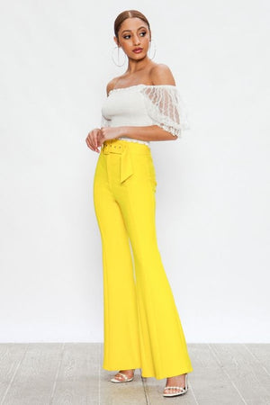 High waisted yellow flares