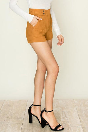 High rise camel shorts