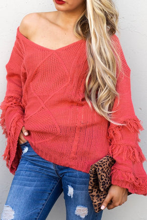 Red fringe off shoulder sweater