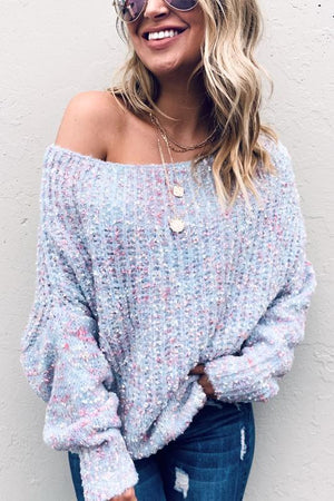Shimmer off the shoulder sweater