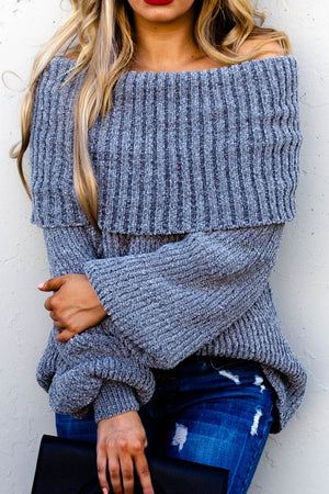 Off the shoulder gray sweater