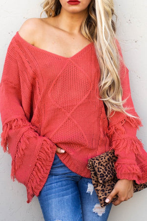 Fringe red knit sweater