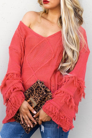 Red fringe style sweater