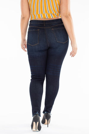 Plus size dark denim skinny jeans