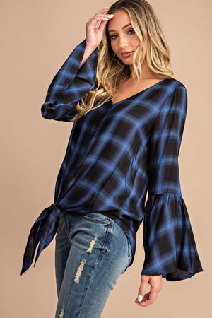 Blue flannel bell sleeve top