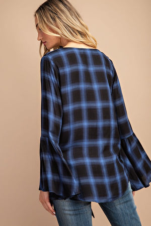 Bell sleeve blue flannel tie front top