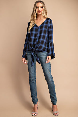 Tie front bell sleeve blue and black top