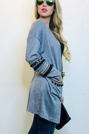 Cardigan with sleeve designs