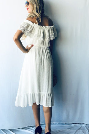 Midi dress off the shoulder white lace