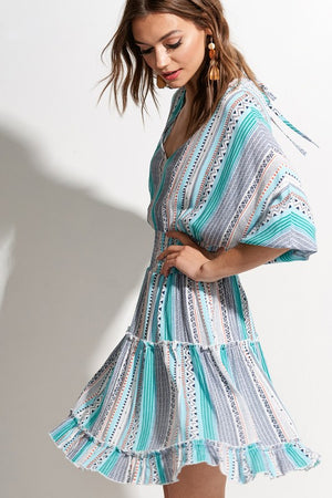 Turquoise Aztec pattern dress