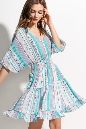 Turquoise pattern print dress