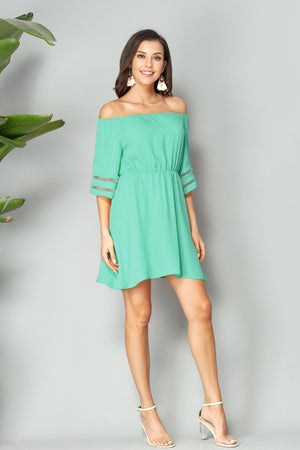 Off the shoulder mini dress in mint