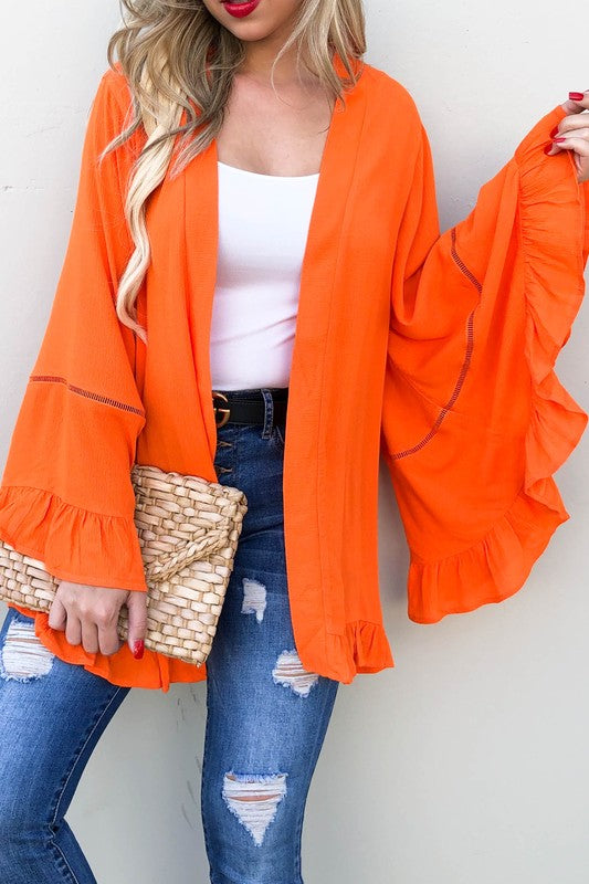 Orange wide sleeve cardigan
