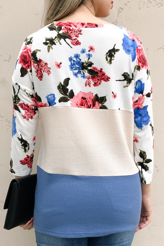 Color block floral blouse