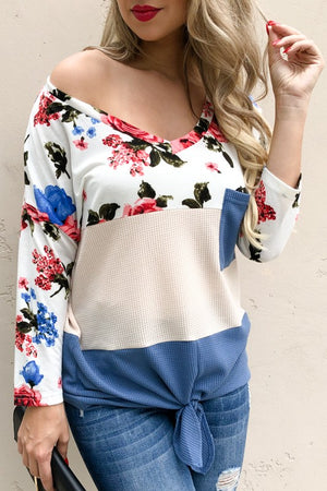 Tie front floral print ling sleeve top
