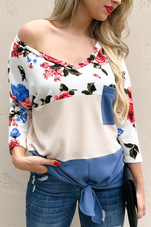 Floral block color top
