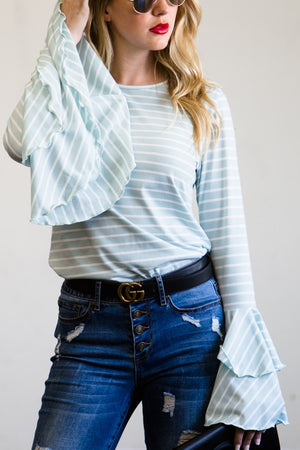 Bell sleeve blue stripe top