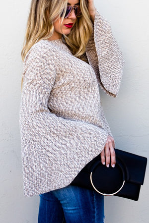 Bell sleeve knit sweater