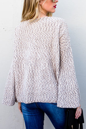 Cream knit  bell sleeve sweater
