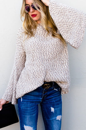 knit sweater with bell sleeves