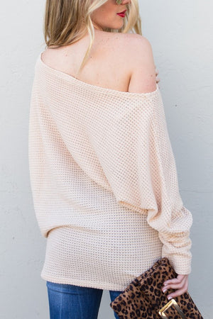 Off shoulder long sleeve knit top
