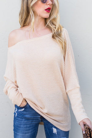 Cream knit sweater with dolman sleeves