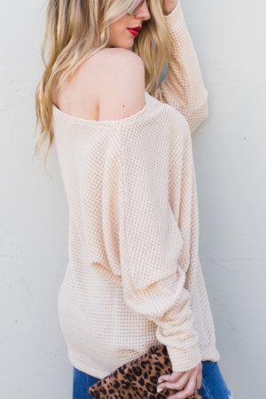 Loose neck knit beige top