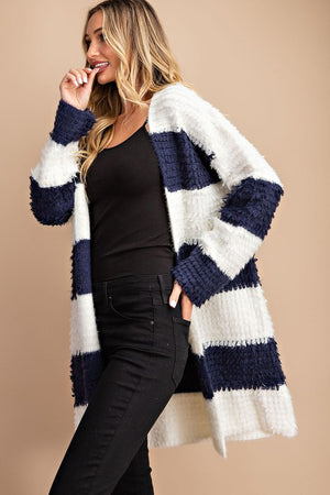 Blue and white long cardigan