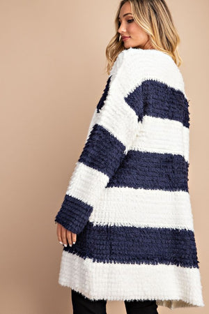 Navy stripe long silhouette cardigan