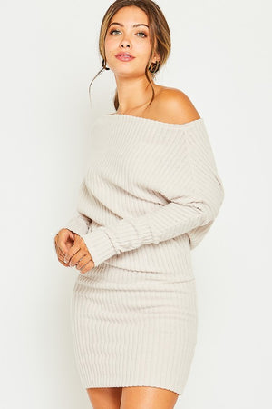 Off shoulder knit dress