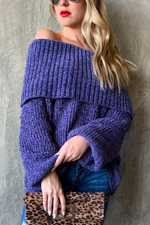 Purple sweater with off shoulder design