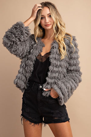 Gray shag jacket