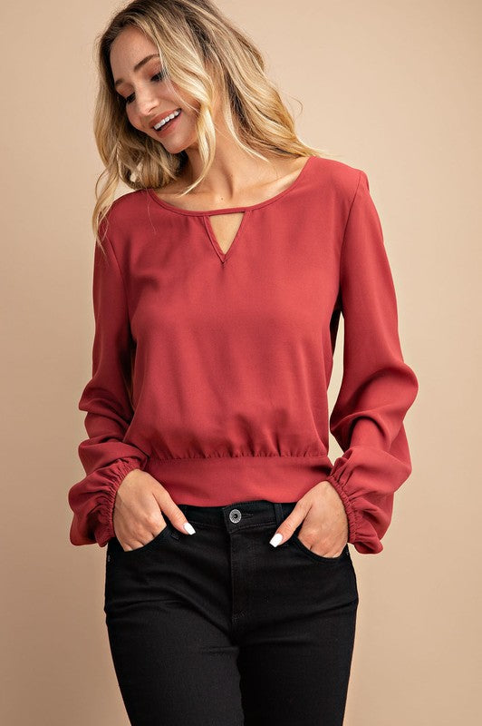 Rust long sleeve tie back top