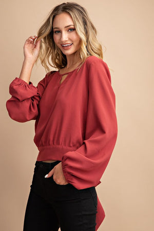 Long sleeve Terracotta tie back blouse