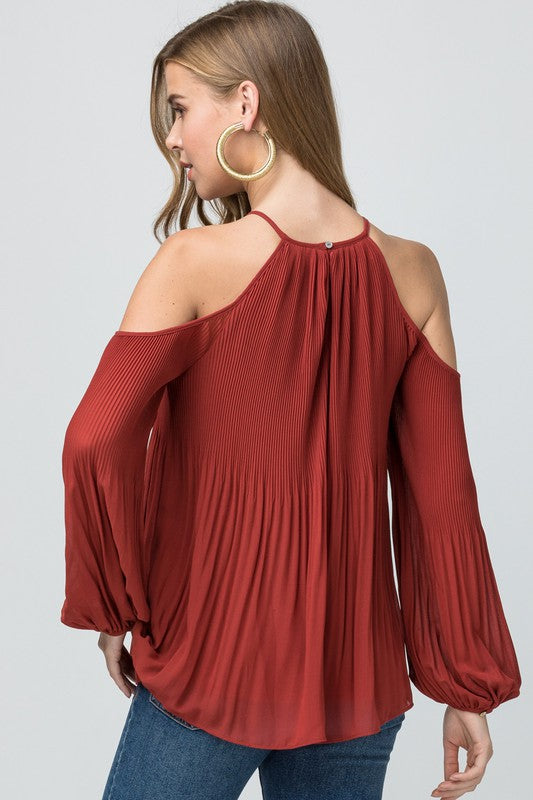 Rust cold shoulder pleated top