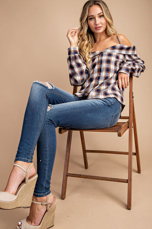 Flannel long sleeve top