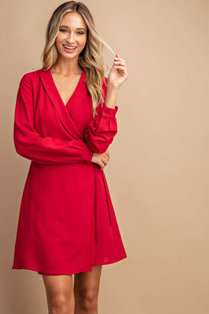 Self tie red long sleeve dress