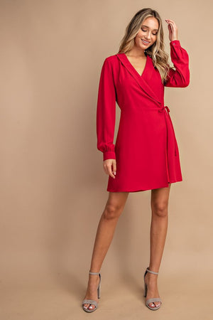 Red wrap self tie dress