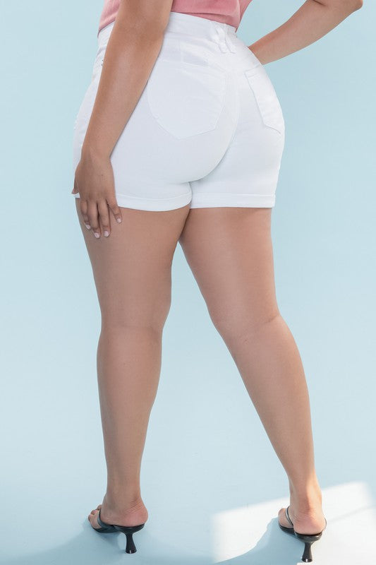 Curvy white denim shorts