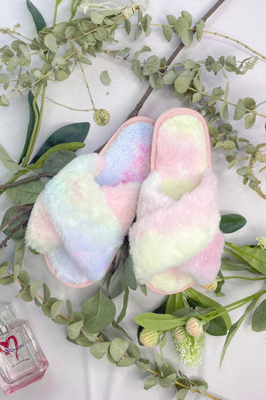 furry tie dye slippers