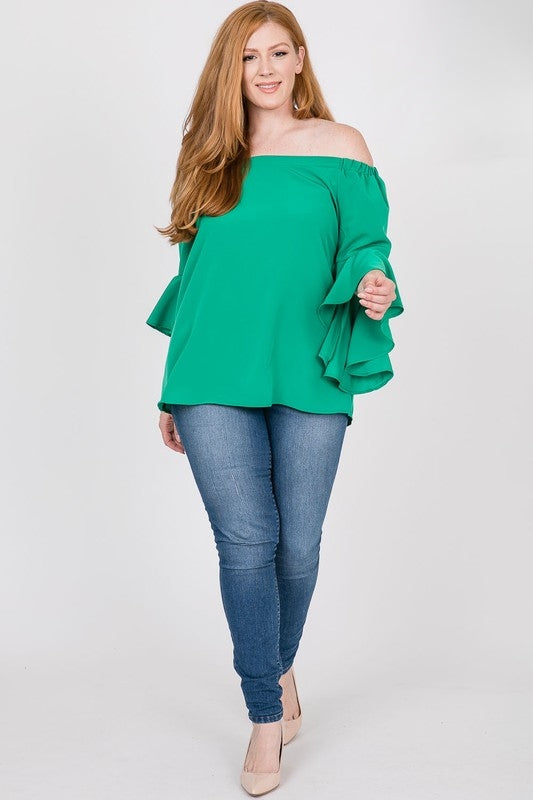 Green curvy fit top 3/4 sleeve