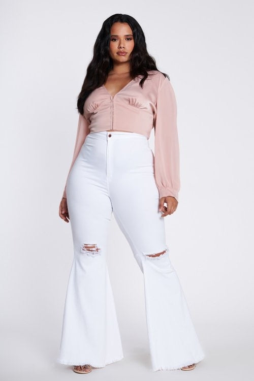 Plus size white bell bottoms