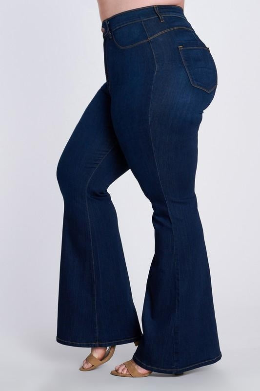 Plus dark denim flares