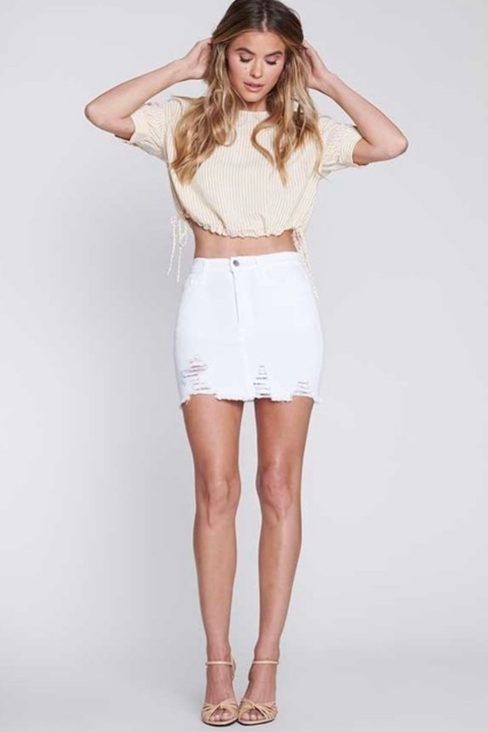 White high rise skirt
