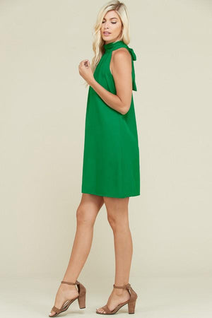 Bow tie back green dress