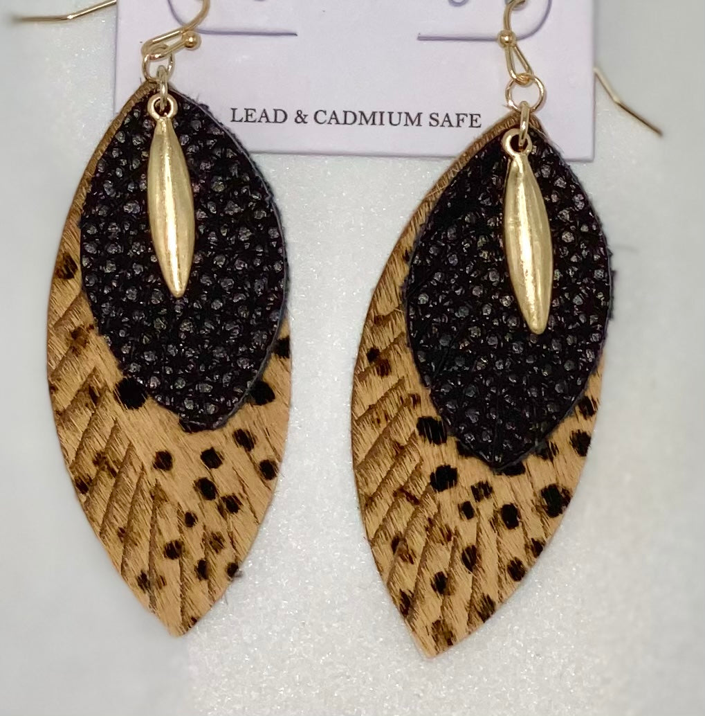 Layered Hide and Leather Tear Drop Earrings Coffee