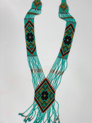 Aqua Beaded Long Necklace